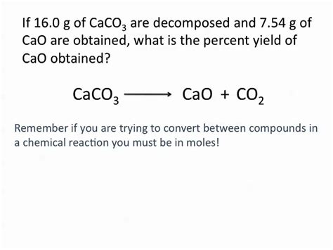 theoretical actual  percent yield problems chemistry