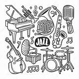 Jazz Coloring Icons Vector Premium Doodle Drawn Hand sketch template