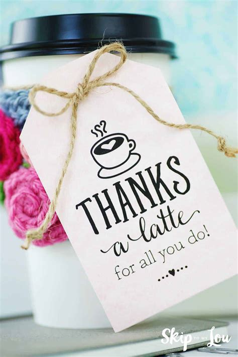 Thanks a Latte Gift Tag Printable Free
