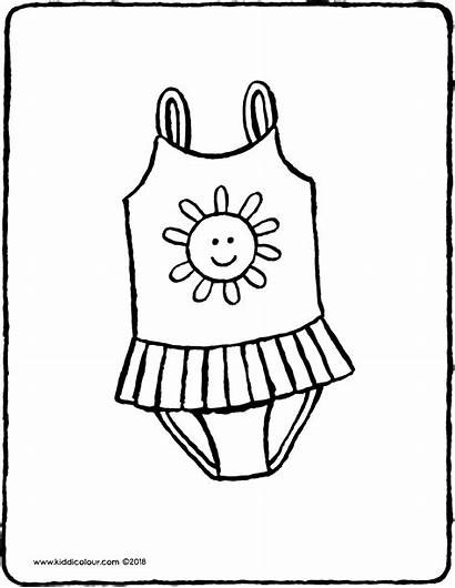 Swimsuit Colouring Drawing Clothes Kiddicolour Pages Drawings