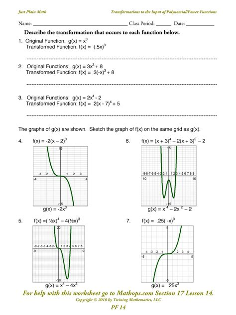 transformations of functions and their graphs worksheet