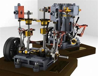Engine Steam Vertical Twin Coroflot Gear 3d