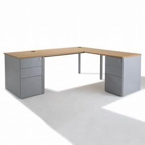 Bureau 60 Cm : bureau d 39 angle retour accroch avec caissons negostock ~ Teatrodelosmanantiales.com Idées de Décoration