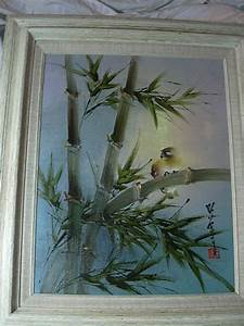 Japanese Signed Painting Bird  U0026 Bamboo Framed   Antiques