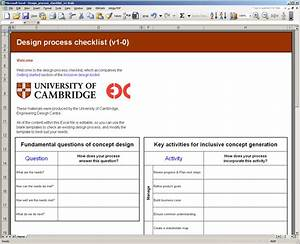Design process checklist for Design review process template