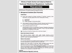 Management Assistant National Medicines Regulatory