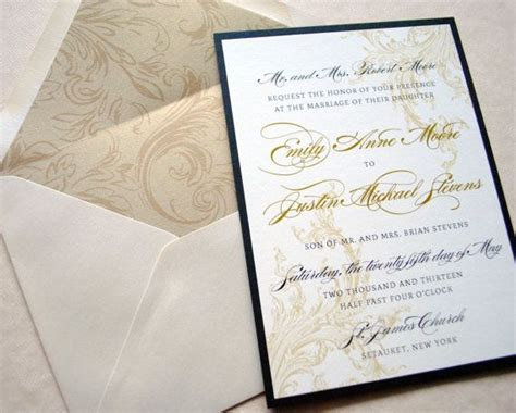 Black Ivory Champagne and Gold Wedding Invitations by