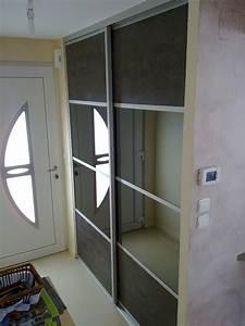Porte Coulissante Miroir Placard : placard entree portes coulissantes ~ Premium-room.com Idées de Décoration