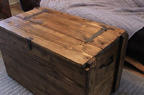 rustic wooden chest trunk blanket box vintage coffee table ebay