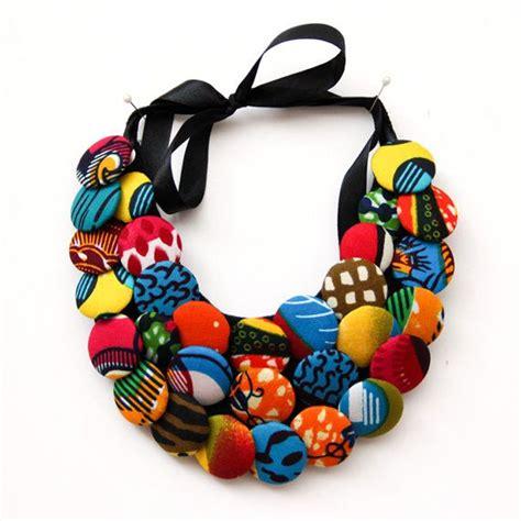 handmade button necklace  african print fabric ankara