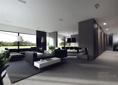 Interior Design In Black White by Black And White Interiors By Tamizo Architects House