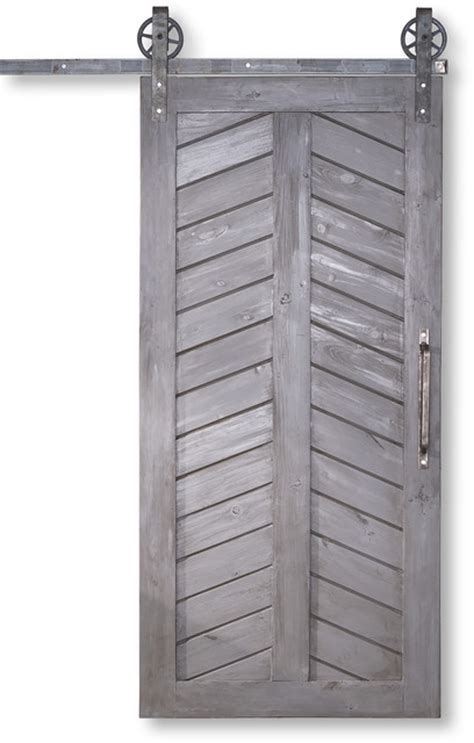 chevron style sliding barn door 36 quot x84 quot farmhouse