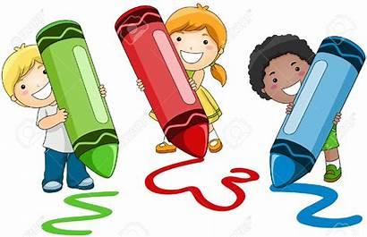 Clipart Children Crayons Writing Using Preschool Crafts