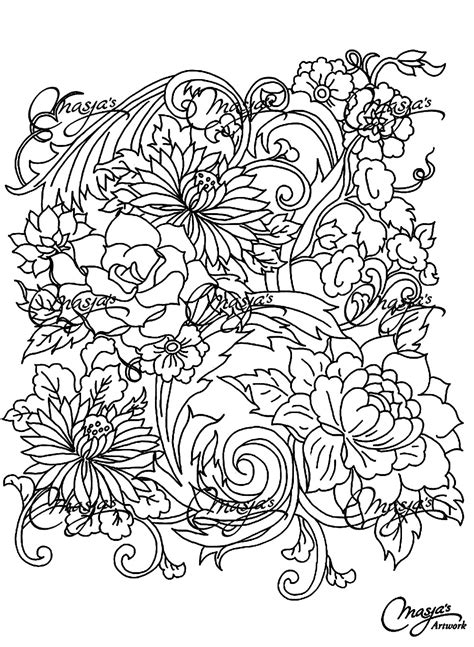 drawing flower flowers adult coloring pages page