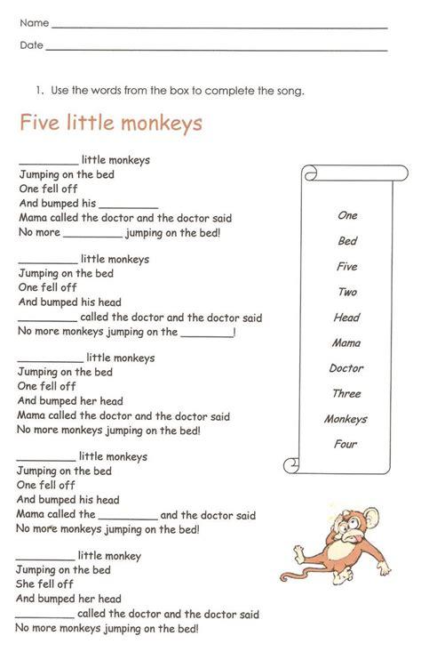monkeys english reading writing worksheet  images