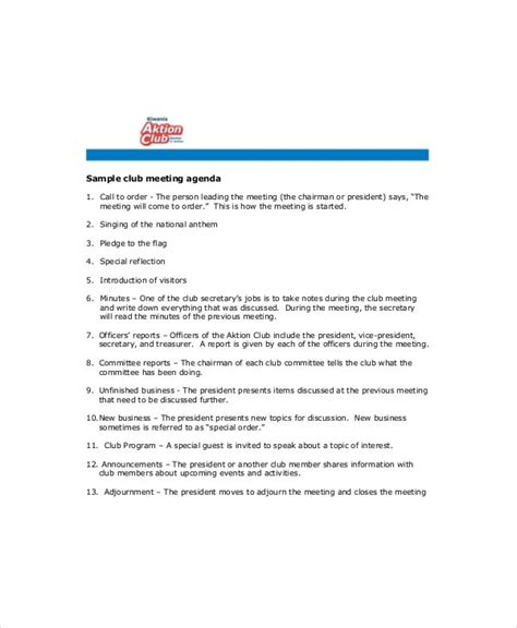 club meeting agenda template   word  documents