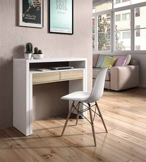 bureau console extensible 2 en 1 bureau console blanc hetre