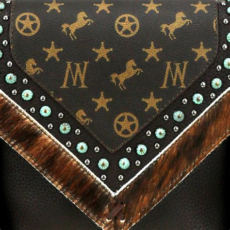 montana west signature monogram collection brown leather hair  hide studded fringe crossbody