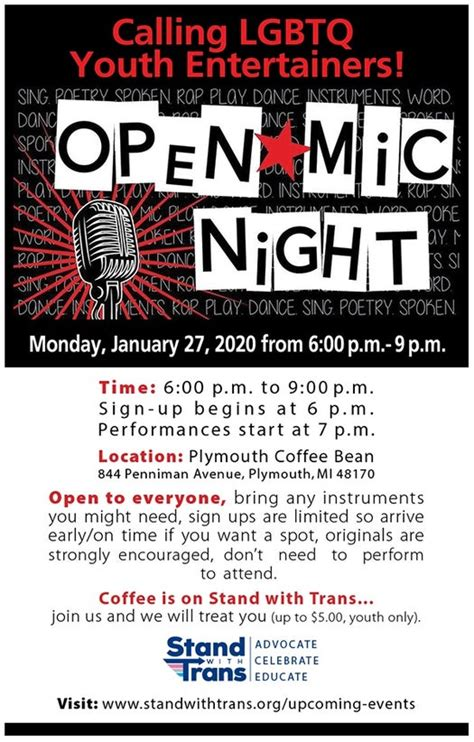 Not your ordinary coffee house here! Jan 27 | Open Mic Meet-Up with Stand with Trans | Macomb Township, MI Patch
