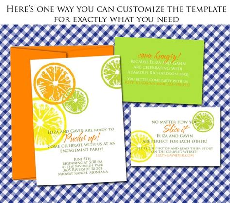 Citrus Wedding Invitation Template / DIY lemon lime orange