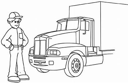 Driver Truck Coloring Pages Clipart Colouring Driving