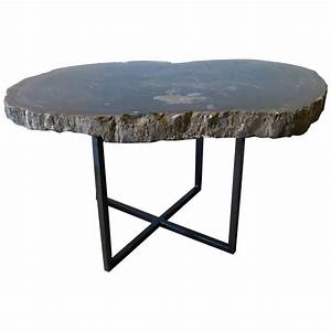 black and gray petrified wood coffee or side table for With petrified wood coffee table for sale