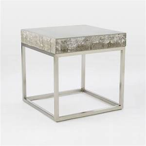 Concrete chrome side table west elm for Concrete drum coffee table