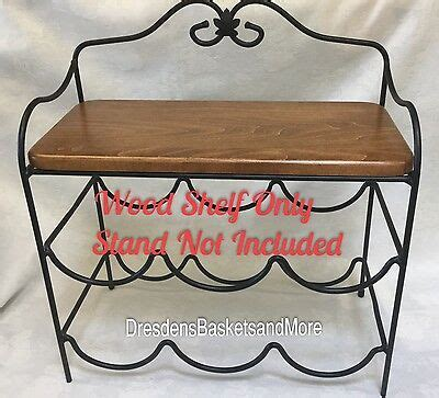 longaberger wood wrought iron table generations stand  tiershelf  tall  picclick
