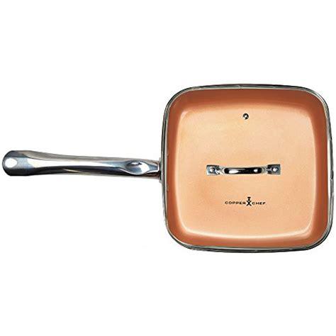 copper chef   square frying pan  lid skillet