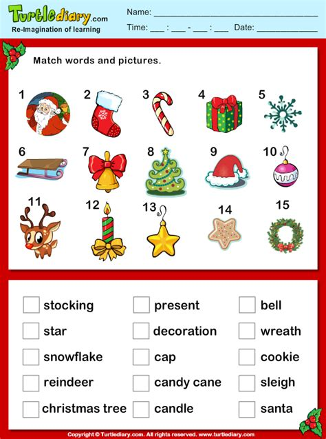 Christmas Vocabulary Words And Pictures Worksheet  Turtle Diary