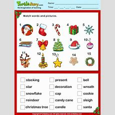 Christmas Vocabulary Words And Pictures Worksheet Turtle