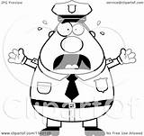 Cartoon Police Chubby Clipart Frightened Vector Coloring Outlined Thoman Cory Royalty sketch template