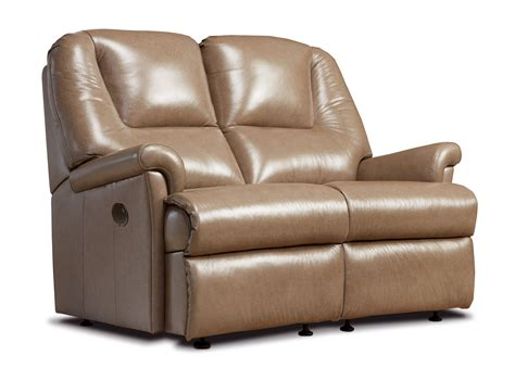 Reclining Settees by Milburn Small Leather Reclining 2 Seater Settee