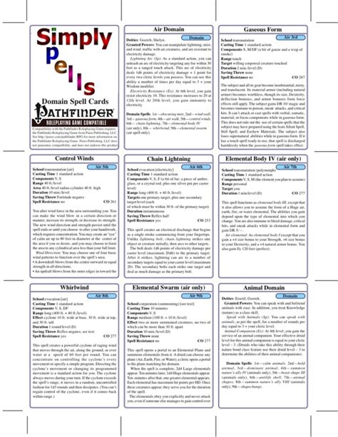 cards cleric spells pdf spell pfrpg domain simply paizo