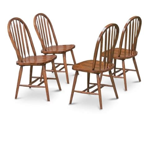 4 oak stain kitchen dining arrow back chairs set