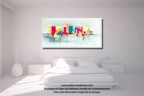 tableau chambre tableau fuchsia gris déco design grande toile rectangle