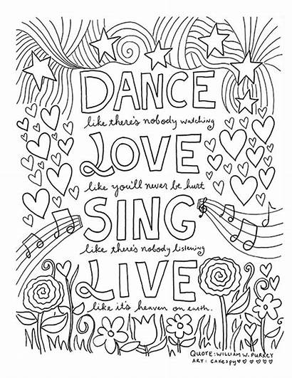 Coloring Pages Quote Inspiring Adults Dance Printables