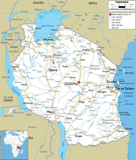 road map  tanzania ezilon maps
