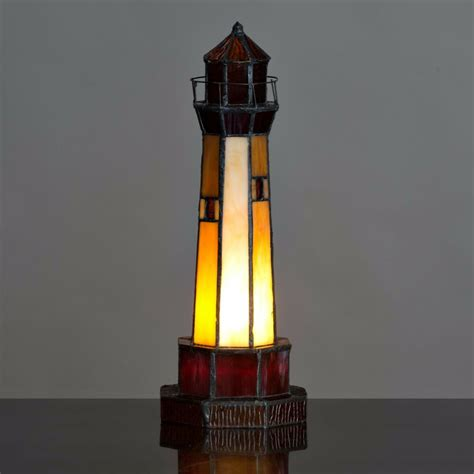 Tiffany Style Lighthouse Table Lamp  Amber Red  38cm Ebay