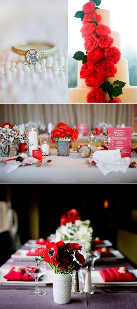 wedding color ideas red white black reception flowers