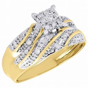 10k yellow gold diamond trio set matching engagement ring With 10k yellow gold wedding ring set