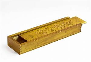 Wooden pencil box vintage wood pencil case office decor