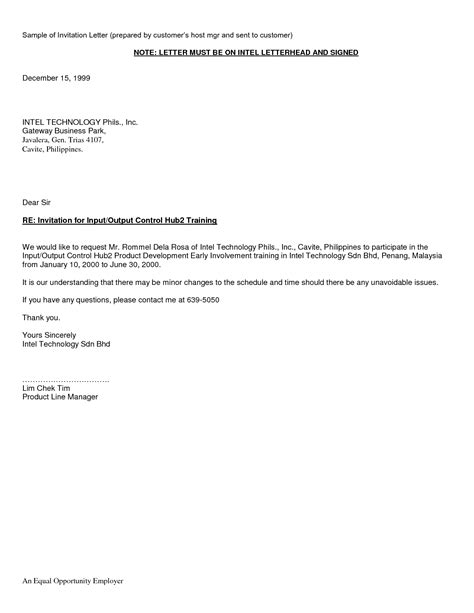 invitation letter philippines visa sample letters