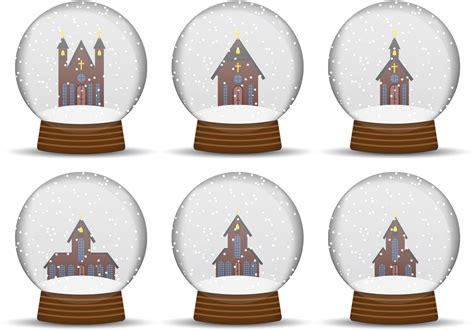 church snow globe vectors   vector art