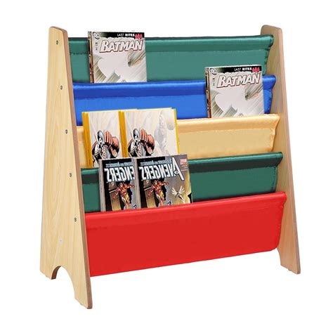 wooden sling fabric bookcase bookshelf nature magazine book kids bedroom storage ebay