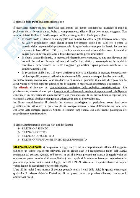 dispensa di diritto amministrativo silenzio della p a appunti di diritto amministrativo