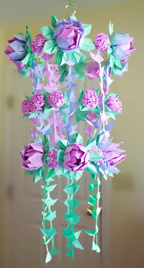 How To Make A Chandelier Out Of Paper by Diy Paper Flower Chandelier Using Origami Techniques Heidi