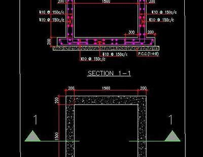 typical sump pit reinforcement  structure detail