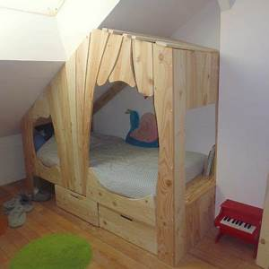 Lit Cabane Garçon : lit cabane en bois sur mesure pour enfant abra ma cabane ~ Teatrodelosmanantiales.com Idées de Décoration