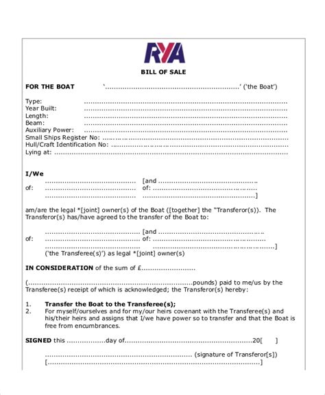 sample bill  sale form    examples